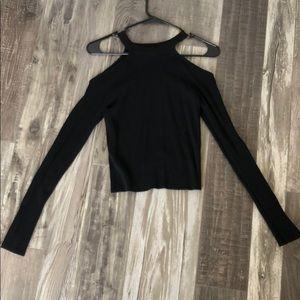 Zara Knit Black Shoulder Cut out long sleeve